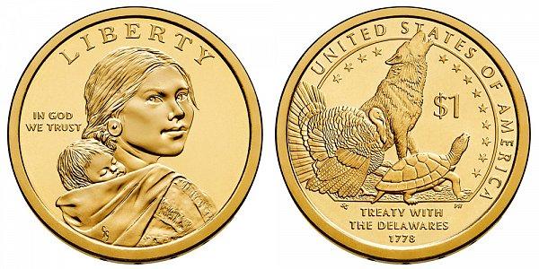 2013 D Sacagawea Native American Dollar Coin - Delawares Treaty 1779