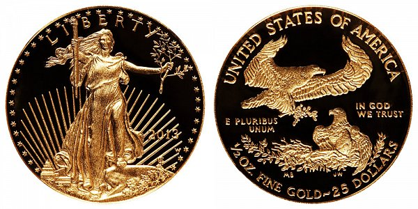 2013 W Proof Half Ounce American Gold Eagle - 1/2 oz Gold $25