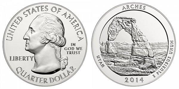 2014 Arches 5 Ounce Bullion Coin - 5 oz Silver