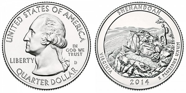 2014 D Shenandoah National Park Quarter - Virginia