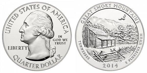 2014 Great Smoky Mountains 5 Ounce Bullion Coin - 5 oz Silver