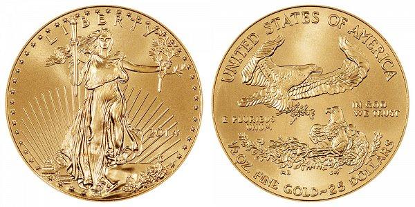 2014 Half Ounce American Gold Eagle - 1/2 oz Gold $25