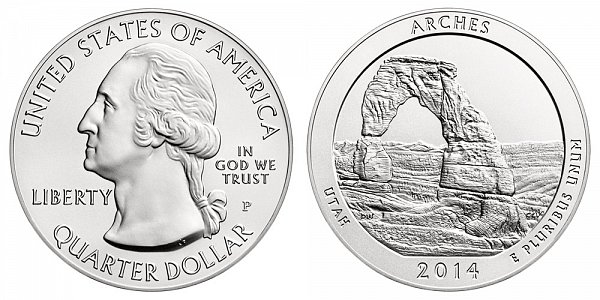 2014 Arches 5 Ounce Burnished Uncirculated Coin - 5 oz Silver