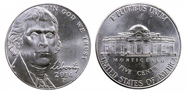 2014 P Jefferson Nickel