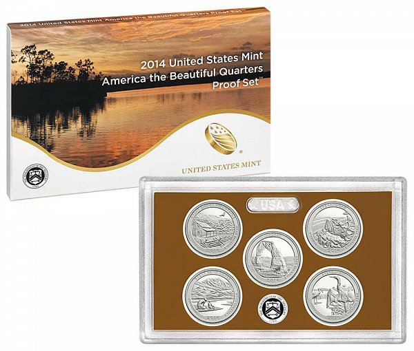 2014 America The Beautiful Quarters Proof Set - 2014-S 5 Piece Set