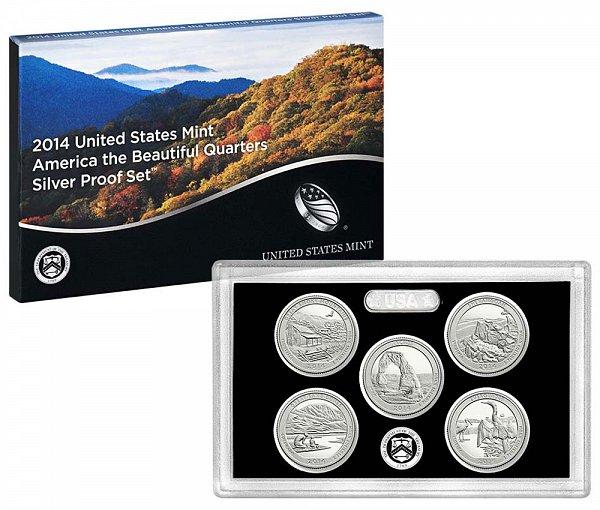 2014 America The Beautiful Quarters Silver Proof Set - 2014-S 5 Piece Set