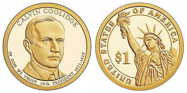 2014 S Proof Calvin Coolidge Presidential Dollar Coin
