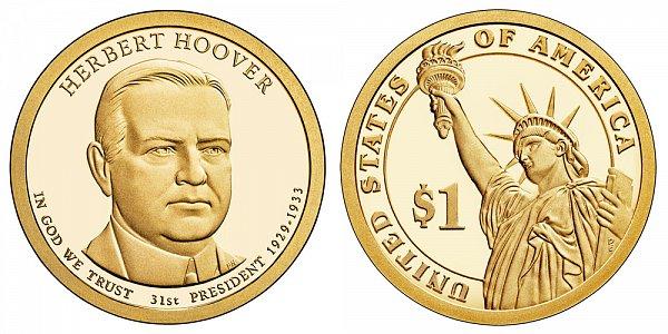 2014 S Proof Herbert Hoover Presidential Dollar Coin