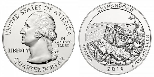 2014 Shenandoah 5 Ounce Bullion Coin - 5 oz Silver