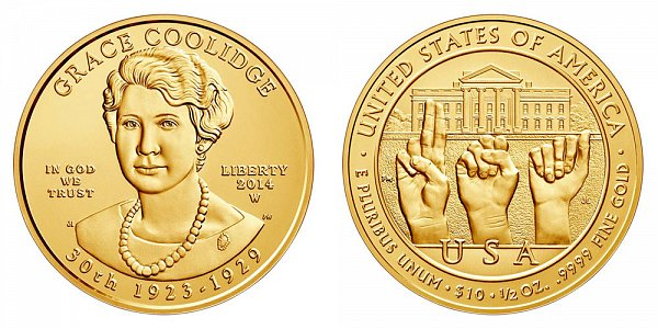 2014 W Grace Coolidge First Spouse Gold Bullion Coin - Brilliant Uncirculated 1/2oz Half Ounce Gold