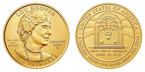 2014 W Lou Hoover First Spouse Gold Bullion Coin - Brilliant Uncirculated 1/2oz Half Ounce Gold