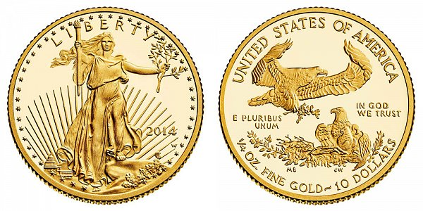 2014 W Quarter Ounce American Gold Eagle Proof - $10 1/4 oz Gold