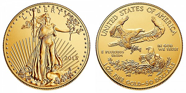 2015 American Gold Eagle - Brilliant Uncirculated $50 1oz One Ounce Gold Bullion