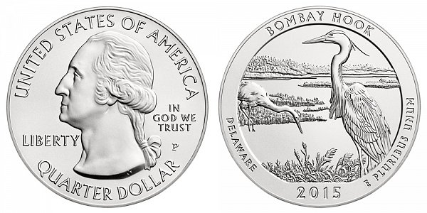 2015 Bombay Hook 5 Ounce Burnished Uncirculated Coin - 5 oz Silver