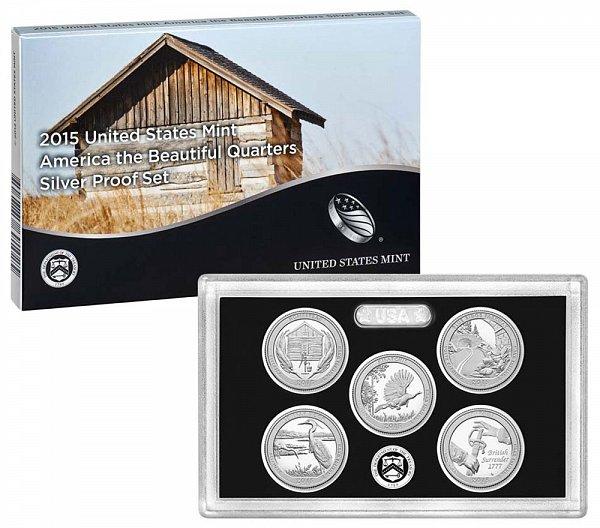 2015 America The Beautiful Quarters Silver Proof Set - 2015-S 5 Piece Set