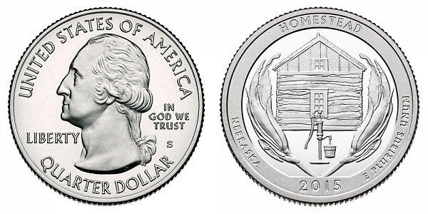 2015 S Silver Proof Homestead National Monument of America Quarter - Nebraska