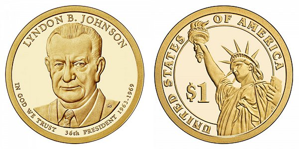 2015 S Lyndon B. Johnson Presidential Dollar Coin - Proof