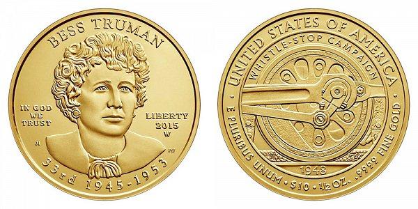 2015 W Bess Truman First Spouse Gold Bullion Coin - Brilliant Uncirculated 1/2oz Half Ounce Gold