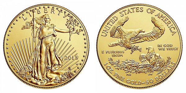 2015 W American Gold Eagle - Burnished $50 1oz One Ounce Gold