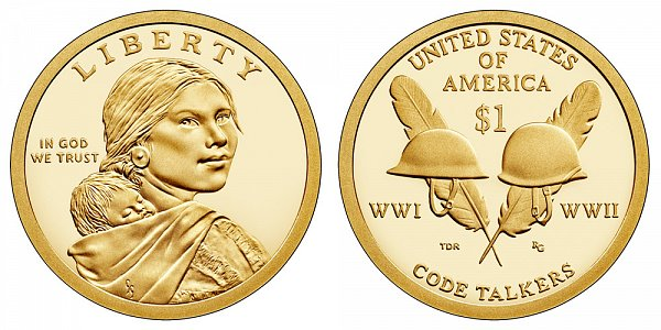 2016 S Proof Sacagawea Native American Dollar - Code Talkers