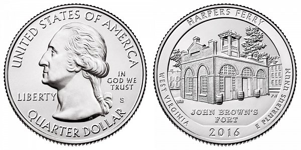 2016 S Uncirculated Harpers Ferry National Historical Park Quarter - West Virginia