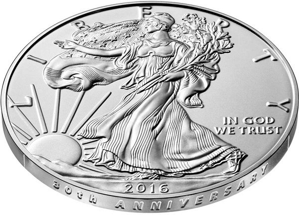 2016 W American Silver Eagle Burnished Uncirculated - 30th Anniversary Lettered Edge Closeup Example
