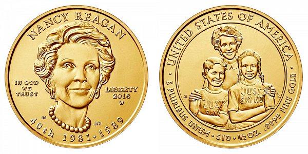2016 W Nancy Reagan First Spouse Gold Coin - Brilliant Uncirculated 1/2 oz Half Ounce Gold