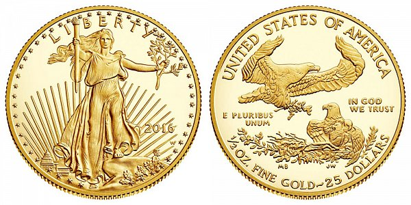 2016 Proof Half Ounce American Gold Eagle - 1/2 oz Gold $25