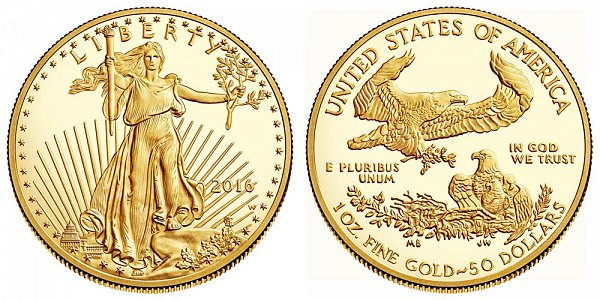 2016 Proof One Ounce American Gold Eagle - 1 oz Gold $50