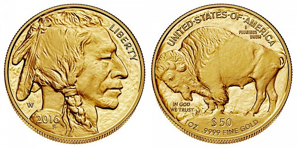 2016 W Proof One Ounce Gold American Buffalo - 1 oz Gold $50