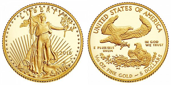 2016 Proof Tenth Ounce American Gold Eagle - 1/10 oz Gold $5
