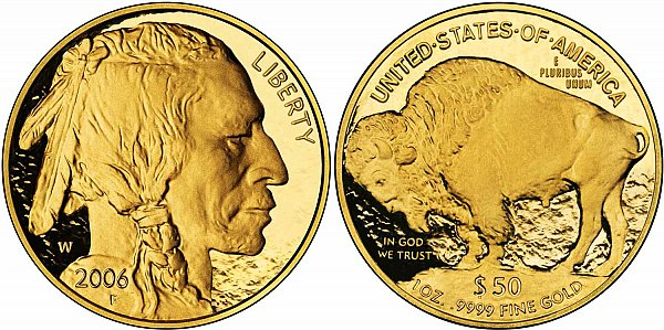 2006 W Proof One Ounce Gold American Buffalo - 1 oz Gold $50