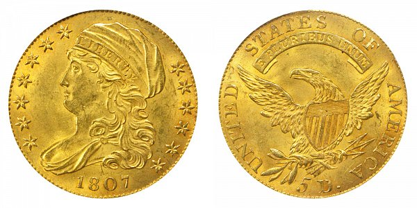 Capped Bust Gold $5 Half Eagle Capped Draped Bust - Head Facing Left US Coin