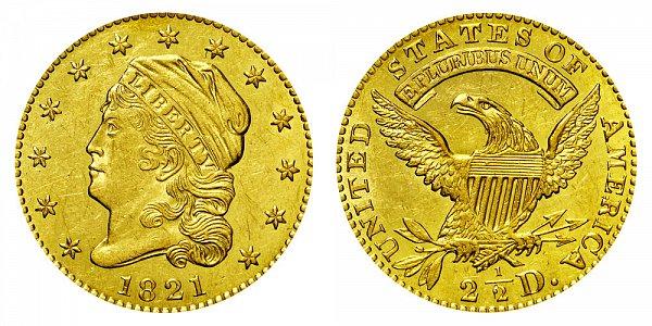 1821 Capped Bust $2.50 Gold Quarter Eagle - 2 1/2 Dollars