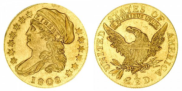 1808 Capped Bust $2.50 Gold Quarter Eagle - 2 1/2 Dollars