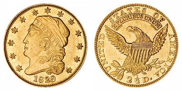 1829 Capped Bust $2.50 Gold Quarter Eagle - 2 1/2 Dollars