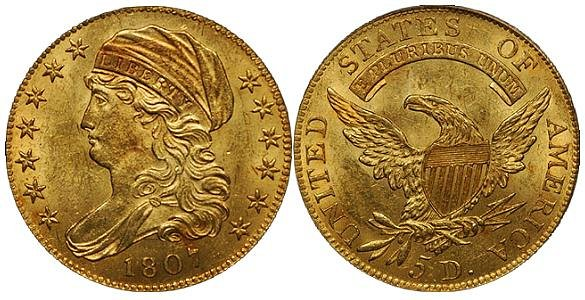 Turban Head Gold $5 Half Eagle Capped Draped Bust US Coin