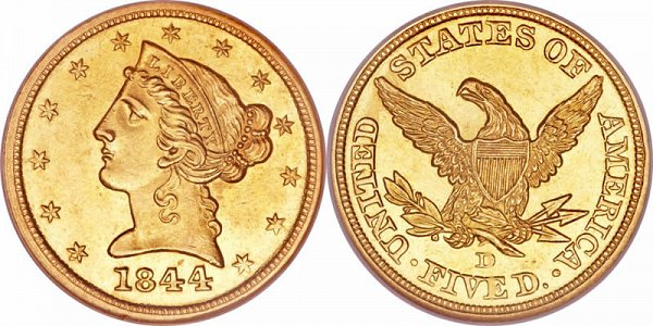 Coronet Head Gold $5 Half Eagle Type 1 - No Motto - Liberty Head - Early Matron Gold Coins US Coin