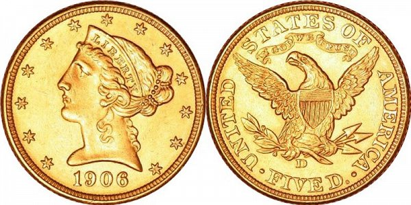Coronet Head Gold $5 Half Eagle With Motto US Coin