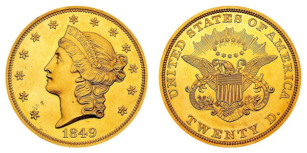 $20 Gold Coronet Head Double Eagle - Twenty D.