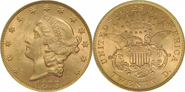 Coronet Head Gold $20 Double Eagle Liberty Head - Twenty D - With Motto US Coin