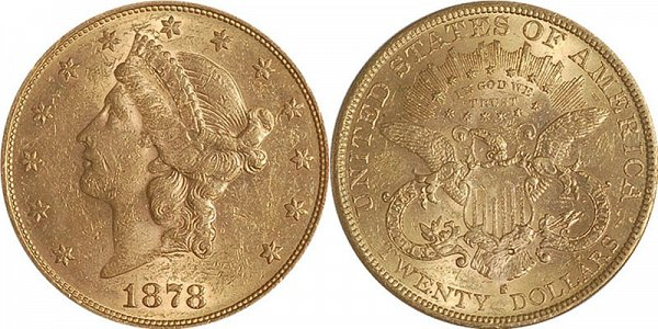Coronet Head Gold $20 Double Eagle Twenty Dollars US Coin
