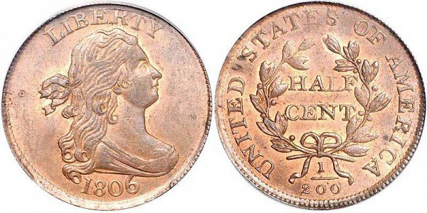 Draped Bust Half Cents Early Copper Half Penny US Coin