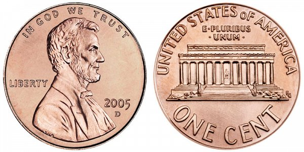 Lincoln Memorial Cent Small Cents Copper Alloy Penny US Coin