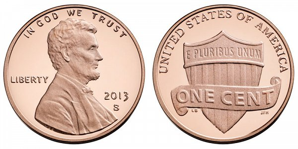 2013 S Lincoln Shield Cent Penny