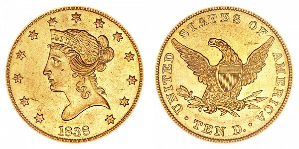 1838 Liberty Head $10 Gold Eagle - Ten Dollars