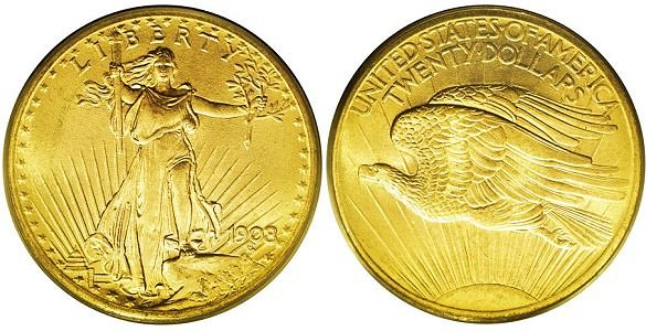 Saint Gaudens Gold $20 Double Eagle No Motto US Coin