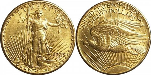 Saint Gaudens Gold $20 Double Eagle With Motto US Coin