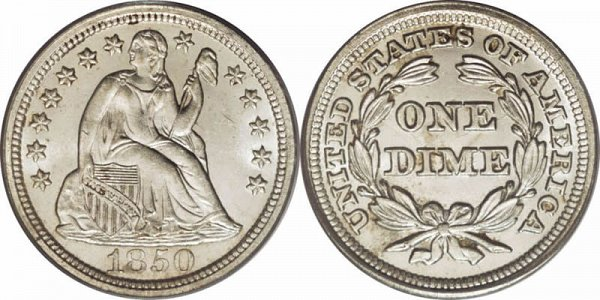 1850 Seated Liberty Dime - Type 2 With Drapery Added