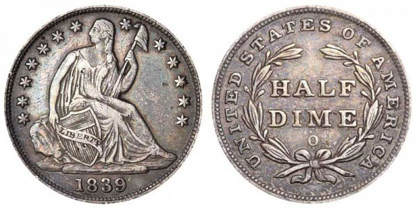 Seated Liberty Half Dimes Type 2 - Stars on Obverse - No Drapery US Coin